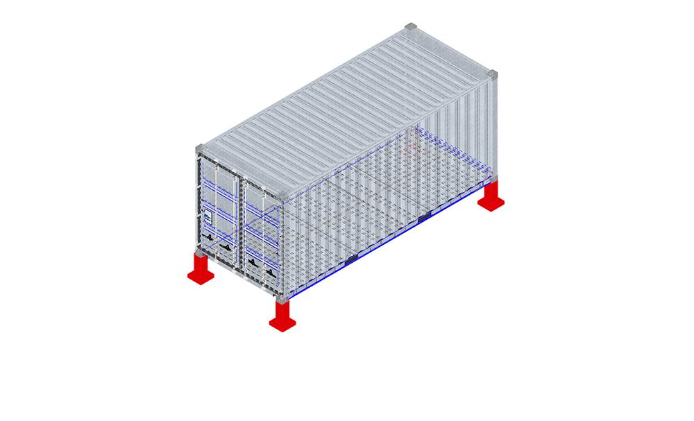 fondation container plots béton