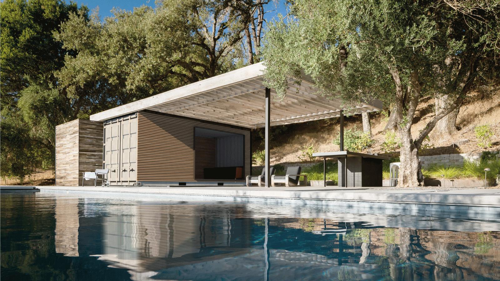 pool house cuisine exterieur design lacase